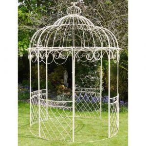 L'Héritier Du Temps - Jolie tonnelle kiosque de jardin pergola abris rond gloriette de charme en fer forgé blanc 250x250x355cm