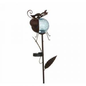 L'Héritier Du Temps - Tuteur solaire pic de jardin lumineux tige avec motif coccinelle en fer patiné et boule en verre craquelé bleu 12x13,5x87cm