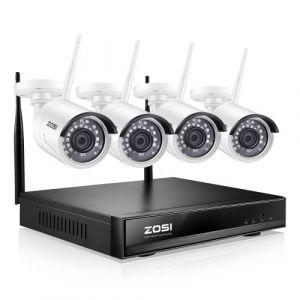 ZOSI Kit Wireless 1080p Full HD 4CH NVR Enregistreur avec 4pcs 2.0MP Caméra IP Surveillance Extérieur sans fil Sécurité pour la Maison
