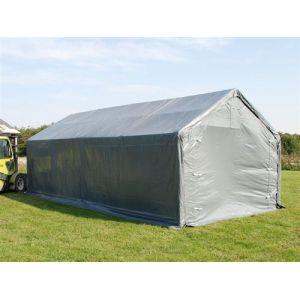 Tente de Stockage Tente Abri PRO 4x8x2,5x3,6m, PE, Gris