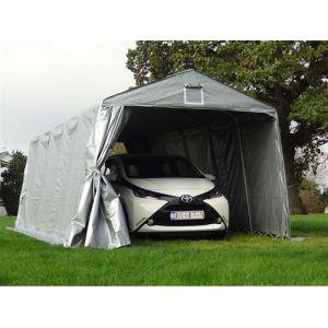Tente Abri Voiture Garage Basic, 3,3x7,2x2,4m PE, Gris