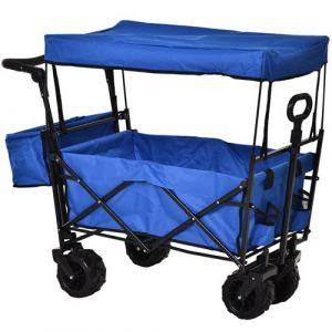 Chariot pliant avec toit, poignée, panier - chariot de plage - chariot de transport pliable tout-terrain métal noir oxford bleu
