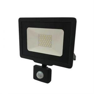 Projecteur LED 50W Détecteur de Mouvement Crépusculaire Extra Plat IP65 NOIR - Blanc Neutre 4000K - 5500K - SILAMP