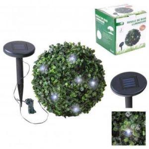 lampe boule buisson buis lumineuse guirlande solaire rechargeable pour decoration de jardin ou terrasse exterieur