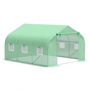 Serre tunnel de jardin 3,5 x 3 x 2 m grande taille 6 fenêtres vert