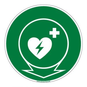 Panneau - Emplacement Défibrillateur Cardiaque - Diamètre 250 mm - Plastique rigide PVC 1,5 mm - Double Face Autocollant au Dos - Protection Anti-UV