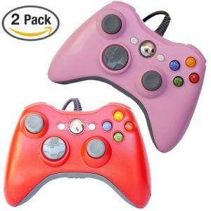 Generic Filaire USB Xbox 360 Manette de Jeu Lot DE 2 Rouge Rose Contrôleur de Jeu compatible avec Xbox 360 / XBOX 360 slim / PC Windows 7 10