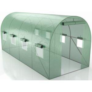 Serre de Jardin Tunnel - bache armée - 9m2, 4,5x2m avec fenêtres latérales et porte zipée