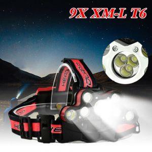 45000 LM 9X XM-L T6 LED rechargeable Projecteur Phare Voyage Lampe frontale