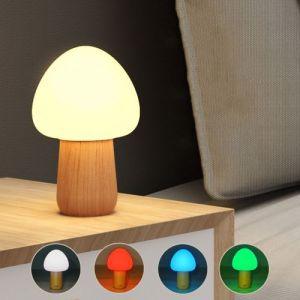 1W Champignon Forme Lumière Colorée LED Décoration Lampe Nouveauté Cadeau Nuit Lumière Lampe avec Télécommande et 3 Niveau Luminosité