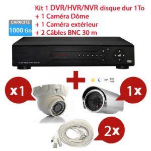 Mecer - KIT Enregistreur 1To vidéo HYBRID HD de surveillance 8 canaux avec 1 caméra dôme et 1 extérieur