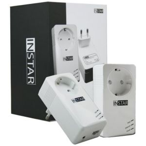 INSTAR Pack de 2 Adaptateurs CPL IN-LAN 500P 500Mbps avec prise de courant intégrée Port Ethernet Blanc EU Plug