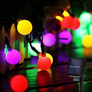 Guirlande Lumineuse Solaire 50 Boule LED, 10m Fil Souple Imperméable Eclairage Décoration (Multicolore)