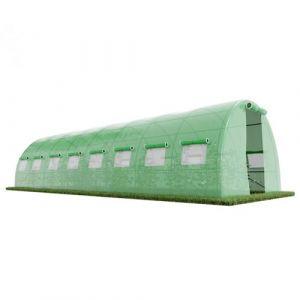 Serre de Jardin Tunnel - bache armée - 24m2 - 8x3m avec fenêtres latérales et porte zipée