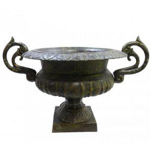 L'Héritier Du Temps - Grand vase vasque chambord jardinière de pilier pot de fleur en fonte vert anglais 37x41x60cm