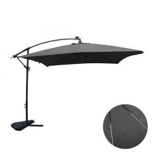 Solenzara Néon gris : parasol LED déporté 3x3m