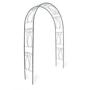 Arche arcade arceau à rosiers plante grimpante jardin vert foncé 230 cm Helloshop26 2213006