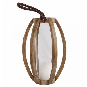 L'Héritier Du Temps - Lanterne décorative cylindrique lampion anse en cuir bougeoir à suspendre ou à poser en bois naturel et globe en verre28x28x60cm