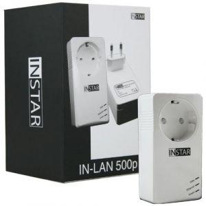 INSTAR IN-LAN 500P Adaptateur CPL 500Mbps avec Prise de courant intégrée Port Ethernet Blanc EU Plug