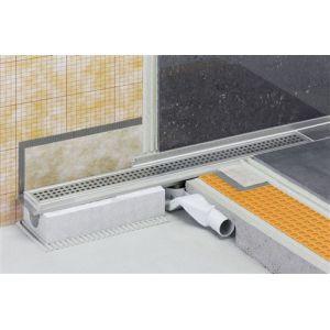 Caniveau pour douche à l'italienne sortie horizontale KERDI-LINE-F - Kit de caniveau en acier inox longueur 70cm hauteur 40cm