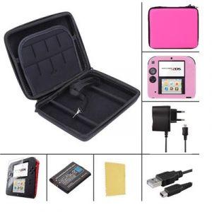Pack Premium 6 en 1 Nintendo 2DS - Rose - chargeur, housse, protection, batterie