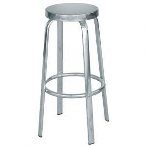 Tabouret de bar en aluminium et assise en acier - Dim : H 80 x P 50 x Ø 32 cm