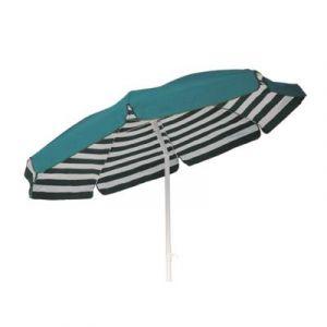 Parasol rond centré coloris Rayé Blanc/Vert - Dim : H 215cm x D 200/8 baleines -PEGANE-