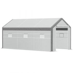Serre de jardin tunnel surface sol 18 m² 6L x 3l x 2,8H m châssis tubulaire renforcé acier 2 portes + 6 fenêtres enroulables PE polyester blanc gris