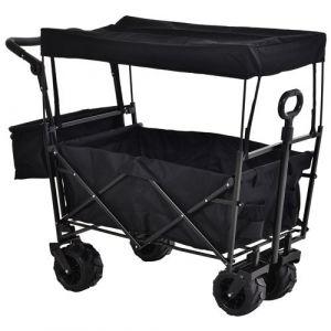 Chariot pliant avec toit, poignée, panier - chariot de plage - chariot de transport pliable tout-terrain métal oxford noir