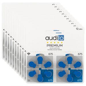 Piles auditives Audilo Premium (Taille 675, 13, 10, 312) - Un lot de 120 piles auditives