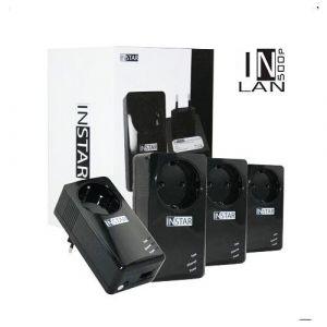 INSTAR Pack de 4 Adaptateurs CPL IN-LAN 500P 500Mbps avec prise de courant intégrée Port Ethernet Noir EU Plug