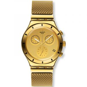 Montre Chronographe Unisexe Swatch Irony Chrono - Golden Cover S YCG410GB