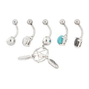 Claire's Piercings de nombril attrape-rêves bohème 14 g couleur argentée - Turquoise, lot de 5