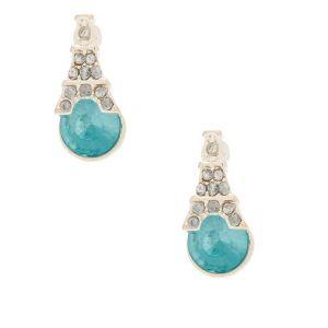 Claire's Clous d'oreille pierres bleues Tour Eiffel couleur argenté