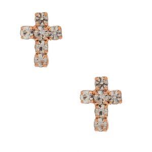 Claire's Clous d'oreille couleur doré rose avec croix en strass