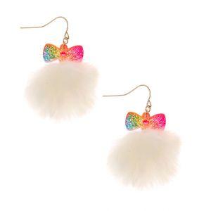 Claire's Boucles d'oreille à pompons arc-en-ciel