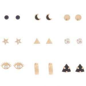 Claire's Lot de 9 clous d'oreille célestes couleur doré