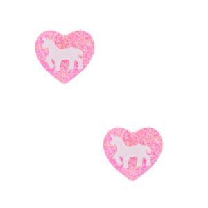 Claire's Clous d'oreille cœur rose à paillettes et licorne