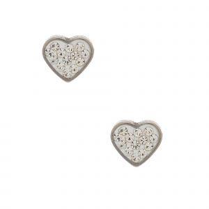 Claire's Clous d'oreille avec cœurs blancs et strass couleur argenté et couleur titané