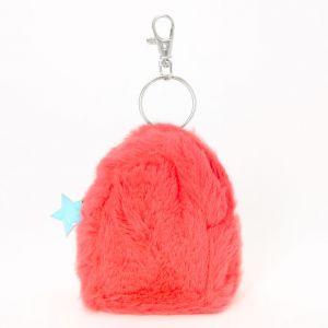 Claire's Porte-clés mini sac à dos en fausse fourrure étoile fluo - Corail