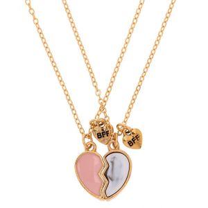 Claire's Lot de 2 colliers d'amitié à pendentif cœur brisé rose
