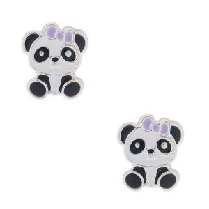 Claire's Clous d'oreille panda portant un nœud couleur argenté