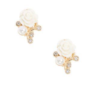 Claire's boucle d'oreilles à clips couleur dorées à fleurs blanches