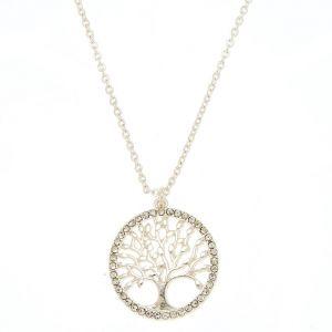 Claire's Collier à pendentif arbre de vie couleur argenté