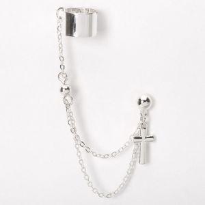 Claire's Boucle d'oreille à chaîne avec manchette croix couleur argentée