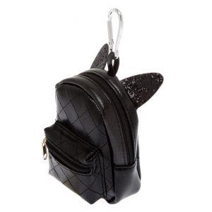 Claire's Porte-clés mini sac à dos oreilles de chat - Noir