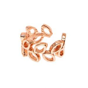 Claire's Manchette d'oreille rose couleur doré en forme de feuilles ouvertes