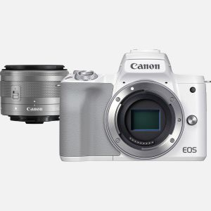 Appareil photo hybride Canon EOS M50 Mark II blanc + objectif EF-M 15-45mm f/3.5-6.3 IS STM argent