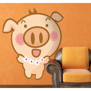 Sticker enfant petit cochon hawaïen