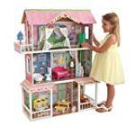 KidKraft 65851 Maison de poupées en bois Sweet Savannah incluant accessoires et mobilier, 3 étages de jeu pour poupées 30 cm
